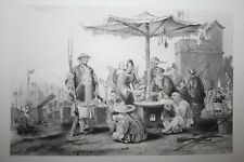 1800'S  ENGRAVING RICE SELLERS AT CHINESE MILITARY STAT
