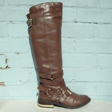 Aldo Leather Boots Size Uk 5 Eur 38 Womens Pull on Buckles Brown Boots