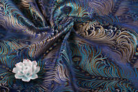 "BY 1/2 YARD x 28""ORIENTAL SILK DAMASK JACQUARD BROCADE FABRIC : PHOENIX FEATHER"