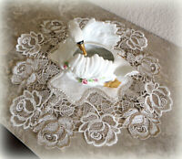 Doily SET OF TWO Roses Jubilee 12 inch Lace Rose Flower Neutral Tones