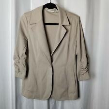 Medium SUSAN GRAVER Beige Knit Blazer Jacket, Gathered Sleeves, Machine Washable