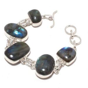 Gift Blue Fire Labradorite Gemstone 925 Sterling Silver Plated Bracelet Jewelry