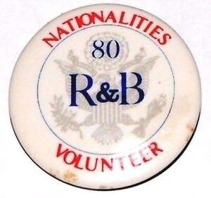 1980 RONALD REAGAN BUSH campaign pin pinback button political president election