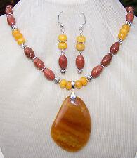 HONEY DRAGON VEIN AGATE STONE NECKLACE EARRING~SET~ goldstone quartz handmade