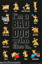 POSTER :COMICAL: BAD DOG - I'M A BAD DOG WHO LIKES TO - FREE SHIP #3142  RP85 R