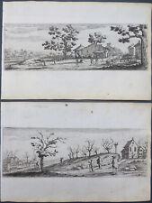 2 RADIERUNGEN DORFANSICHT ERNTE LANDSCHAFT IM HERBST François Collignon 17. JH.