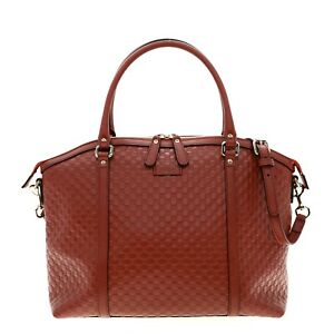 Gucci Bree Dome Shoulder Tote Bag Microguccissima Red Leather New