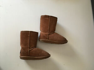 EMU Shearling Suede Boots Chestnut Size 9 Toddler Kids Boys or Girls