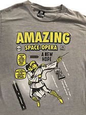 Star Wars 'Amazing Space Opera' SpiderMan Parody Skywalker Grey T-Shirt Sz. M