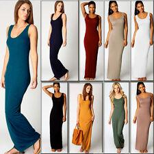 Womens Holiday Plain Retro Sleeveless Maxi Ladies Summer Beach Long Cami Dress