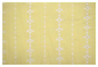 """Yellow Perforated Striped Embroidered 100% Cotton Fabric 55""""W Sheer Apparel"""