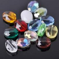 10pcs 16x12mm Oval Faceted Crystal Glass Loose Craft Beads For Jewelry Making