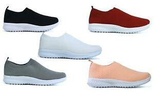 WOMENS NEW CASUAL NON-SLIP COMFORT WALKING/RUNNING KNITTED TRAINER UK SIZE 2-9