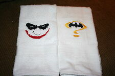 Batman & The Joker Hand/Kitchen towels 2 White NWOT embroidered