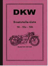 DKW NZ 250 350 NZ250 NZ350 Ersatzteilliste Ersatzteilkatalog Spare Parts List