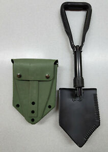 """US Military Surplus Entrenching Tool with used green """"ALICE"""" Vinyl Shovel Cover"""