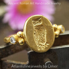 Coin Ring Handmade 24k Gold Plated Free Size Turkish Sterling Silver Owl