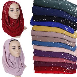 Women Ladies Chiffon Scarf Hijab Pearl Beads Scarves Head Wraps Cover Fashion