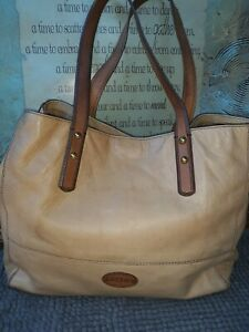 FOSSIL ZOEY Tan Soft Pebbled Leather Large Tote Bag Purse Carryall Shopper