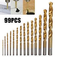 99pcs forets hélicoïdaux HSS haute acier titane scie forets bois métal outil ST