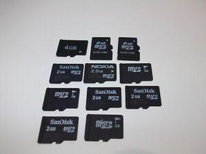 11 x 2GB Micro SD Memory cards Bulk job lot Mix Brands