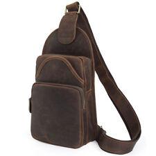 Vintage Men's Leather Sling Bag Chest Pack Retro Messenger Shoulder Bag Backpack