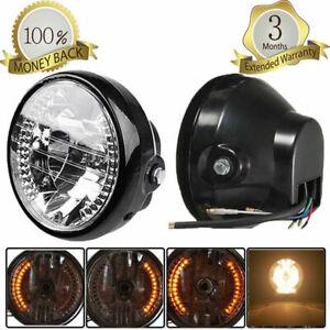 "Motorcycle 6.5"" 12V Front Headlight LED Turn Signal Light for Harley Cafe Racer"
