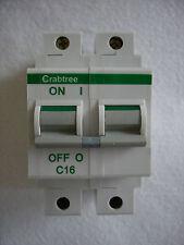 Crabtree 62C/16 16AMP C Type - Polestar - Double Pole Miniture Circuit Breaker