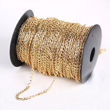 5m Light Gold Plated Cable Open Link Metal Chain Jewelry Finding Making Craft
