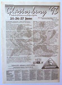 GLASTONBURY FESTIVAL 1993 Poster Ad THE BLACK CROWES LENNY KRAVITZ ROBERT PLANT