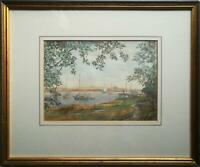 J. CROSWELL SIGNED ORIGINAL 20TH CENTURY ESTUARY LANDSCAPE WATERCOLOUR PAINTING.
