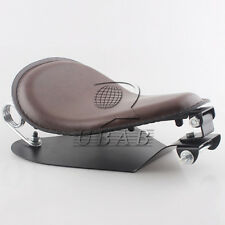 """Brown Leather SOLO Seat Pan Cover Frame 2"""" Spring Kits For Harley Bobber Chopper"""