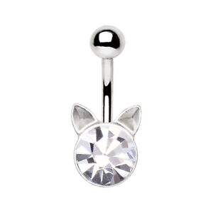 Crystal Cat Navel / Belly Bar - 10mm Surgical Steel Body Jewellery