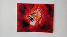"""Tableau Contemporain abstrait - """"Lion flamboyant"""" - rouge orange - TOILE UNIQUE"""