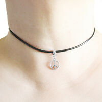 Peace Sign Cute Charm Pendant Choker Necklace with Black Cord