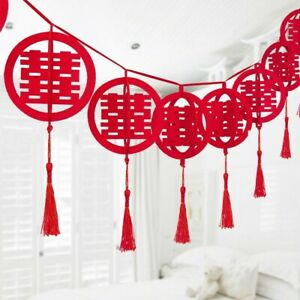 3D Circular Double Happiness Hanging Decoration Chinese Wedding Party 3 Meters