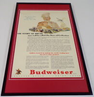 1942 Budweiser Beer / Bread Framed 11x17 ORIGINAL Vintage Advertising Poster