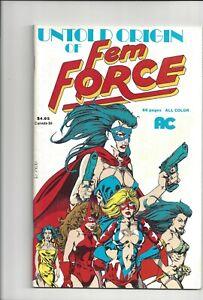 UNTOLD ORIGIN OF FEM FORCE # 1  & FEM FORCE #78 - VF+ - 1990 - AC Comics -