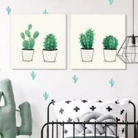 "Wall26 - 2 Panel Square Green Cactus in Pots Gallery - CVS - 12""x12"" x 2 Panels"