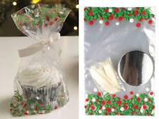 Cellophane Christmas Cupcake Favour Gift Bags with Ribbon and Cake Bases 12 pack