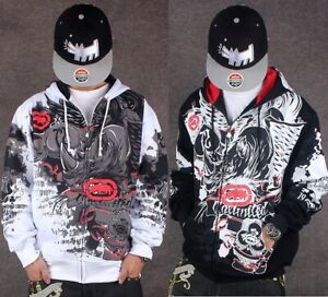 Men's ECKO Unltd Hip Hop Zipper Hoodie Warm Graffiti Print Pullover Sweatshirt