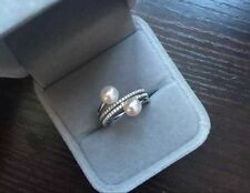 Natural Fine Double pearl 6-7MM AAA+ white pearl Ring size adjustable 925 silver