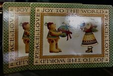 Mary Engelbreit * Peace Love Joy To The World* Cork Back Placemat Pair