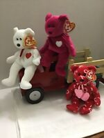 Lot Of Three Ty Beanie Babies Kiss-Kiss, Valentino, Valentina (Truck Not Incl.