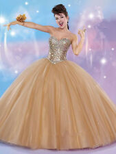 Gold White Quinceanera Dress Gowns Sweet 16 Dresses Vestido 15 Anos Formal Dress