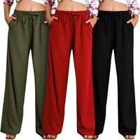 Women's Palazzo Straight Wide Leg Lounge Pants Casual Cotton Trousers Drawstring