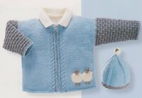 Baby Sheep Motif Jacket & Hat 0 - 2 years DK Knitting Pattern