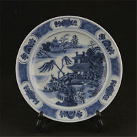 CHINESE OLD BLUE AND WHITE LANDSCAPE VIEW PATTERN PORCELAIN PLATE