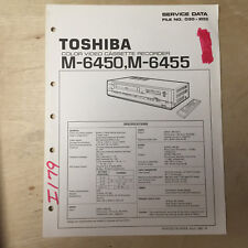 Toshiba Service Manual for the M-6450 M-6455 VCR Video Cassette Recorder