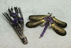 Lot of 2 Amethyst and Freshwater Pearl Artisan Brooch Pn - DRAGONFLY / GRASS HAY
